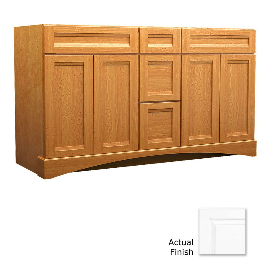 Bathroom Cabinets Kraftmaid shop kraftmaid dove white bathroom vanity (common: 60-in x 21-in