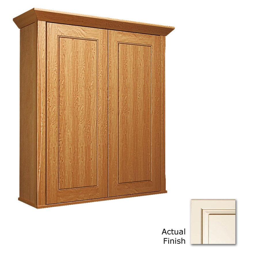 KraftMaid 27-in W x 30-in H x 8-in D Canvas with Cocoa Glaze Bathroom Wall Cabinet