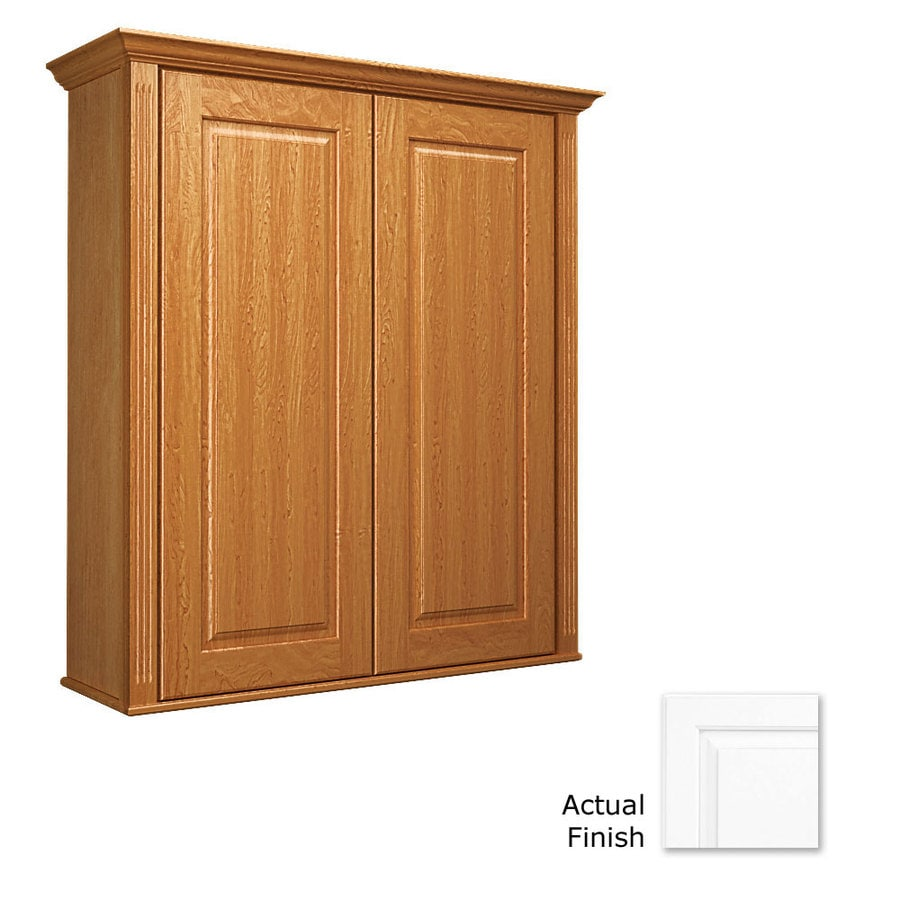 KraftMaid 27-in W x 30-in H x 8-in D Dove White Maple Bathroom Wall Cabinet