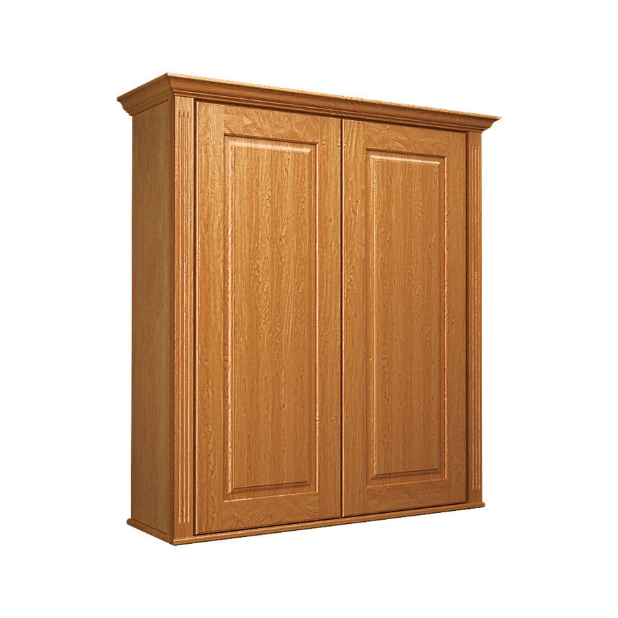 KraftMaid 27-in W x 30-in H x 8-in D Praline Maple Bathroom Wall Cabinet