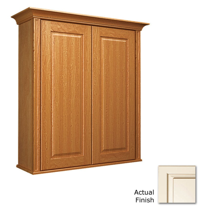 KraftMaid 27-in W x 30-in H x 8-in D Canvas with Cocoa Glaze Maple Bathroom Wall Cabinet