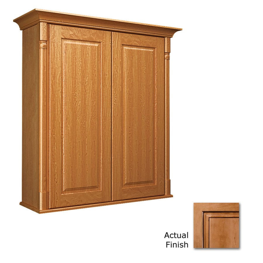 KraftMaid 27-in W x 30-in H x 8-in D Ginger with Sable Glaze Bathroom Wall Cabinet