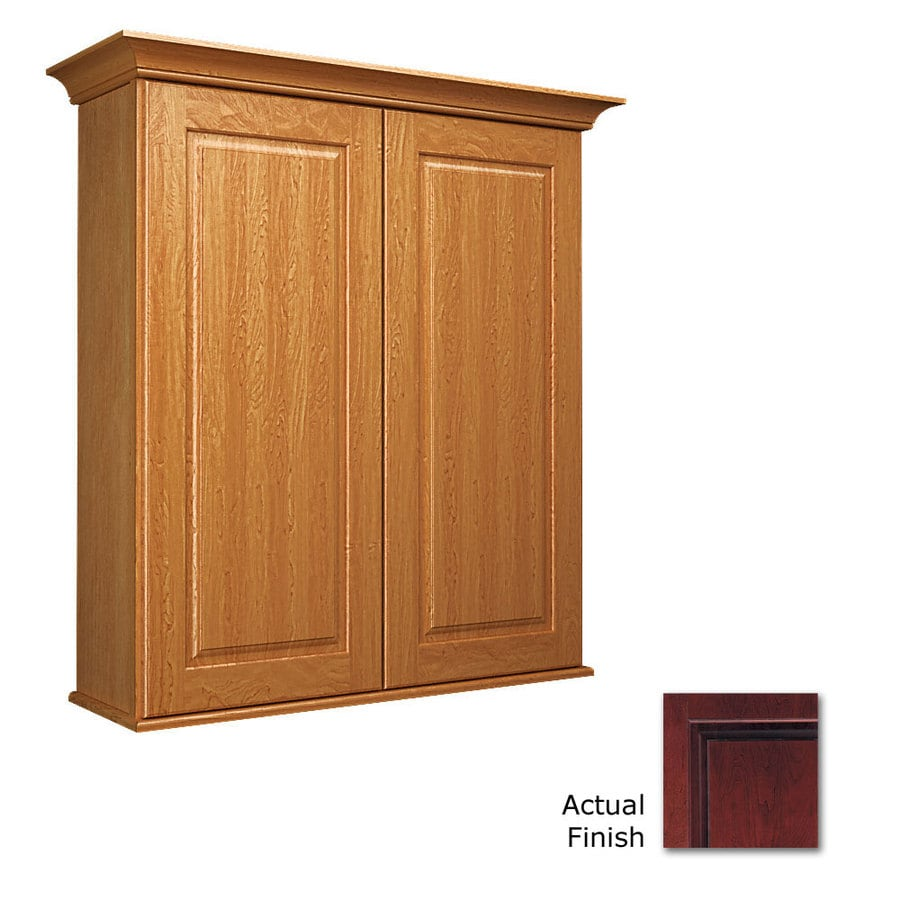 KraftMaid 27-in W x 30-in H x 8-in D Cabernet Cherry Bathroom Wall Cabinet