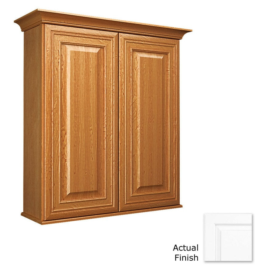 Shop kraftmaid 27 in w x 30 in h x 8 in d dove white maple for Dove white cabinets with cocoa glaze