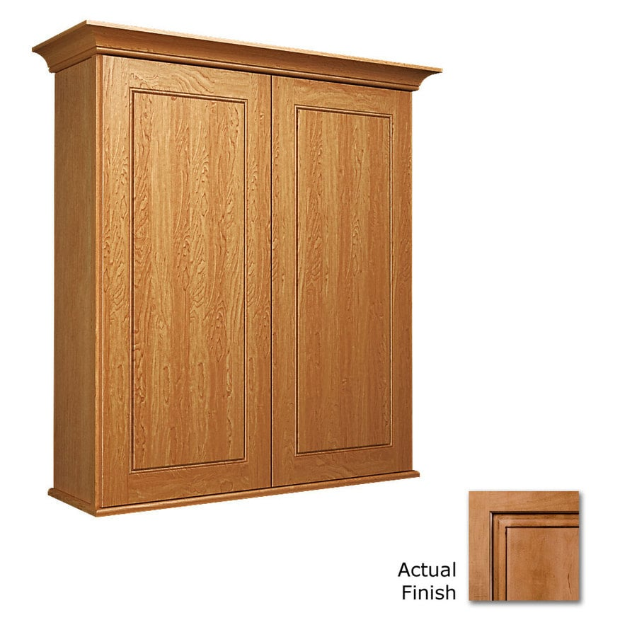 KraftMaid 27-in W x 30-in H x 8-in D Ginger with Sable Glaze Maple Bathroom Wall Cabinet