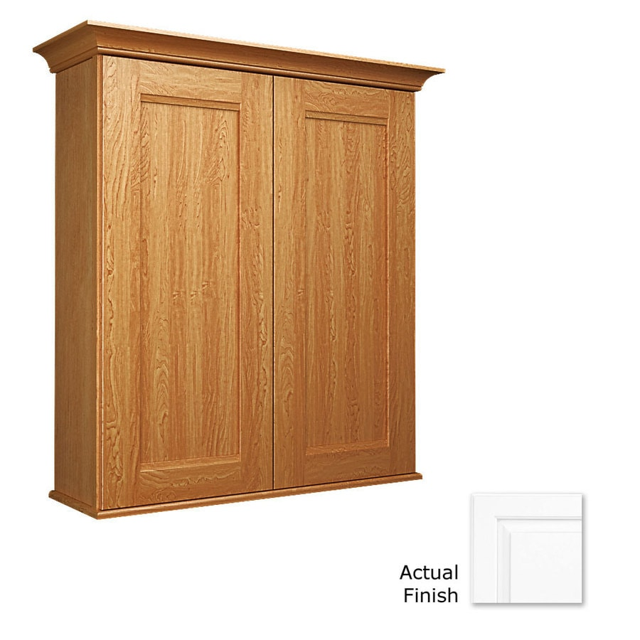 KraftMaid 27-in W x 30-in H x 8-in D Dove White Bathroom Wall Cabinet