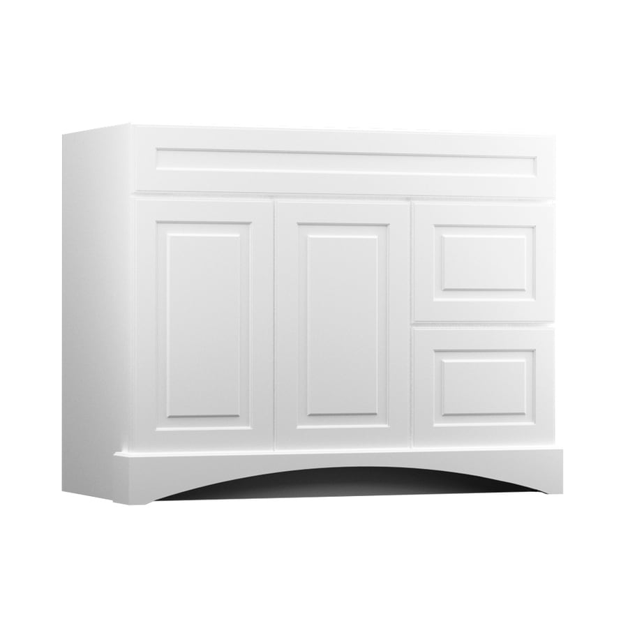 Shop kraftmaid white bathroom vanity common 42 in x 21 for Bathroom cabinets kraftmaid