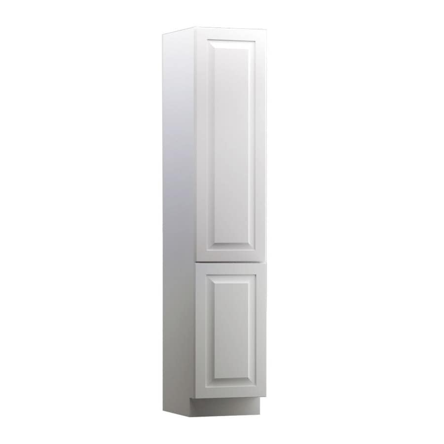 KraftMaid 15-in W x 88.5-in H x 21-in D White Maple Freestanding Linen Cabinet