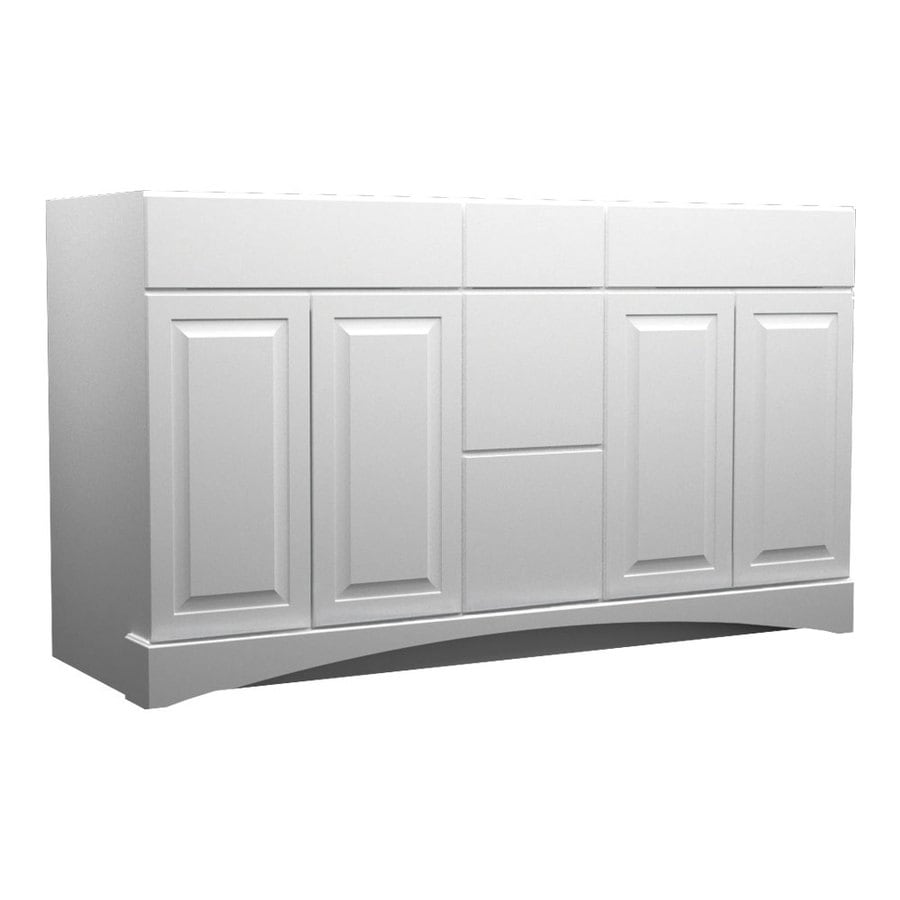 Shop kraftmaid white bathroom vanity common 60 in x 21 for Bathroom cabinets kraftmaid