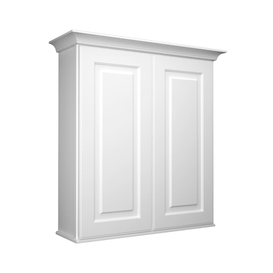 27 in w x 30 in h x 8 in d white bathroom wall cabinet at
