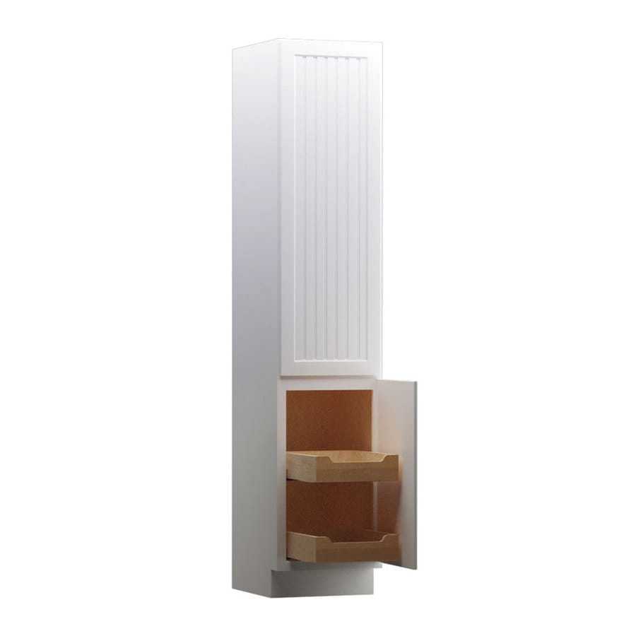 KraftMaid 18-in W x 88.5-in H x 21-in D White Maple Freestanding Linen Cabinet