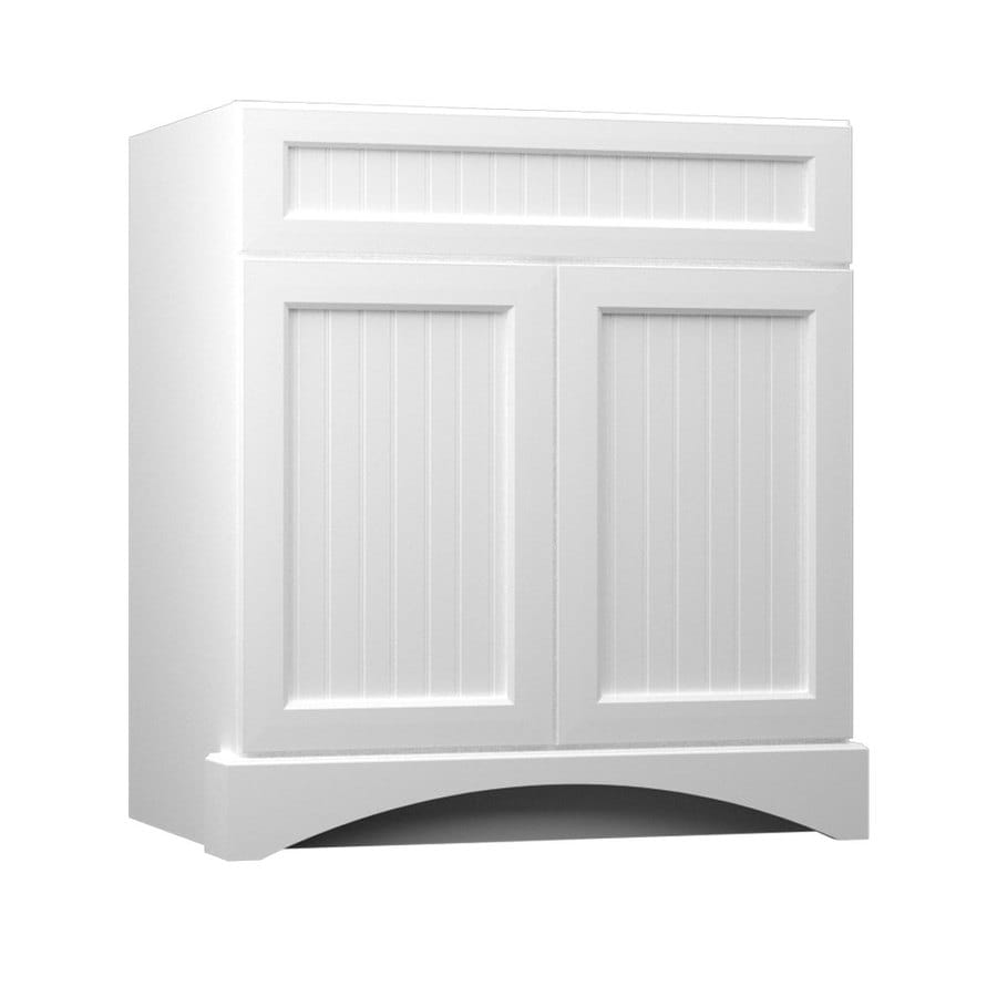 Shop kraftmaid white bathroom vanity common 24 in x 21 for Bathroom cabinets 30 inch