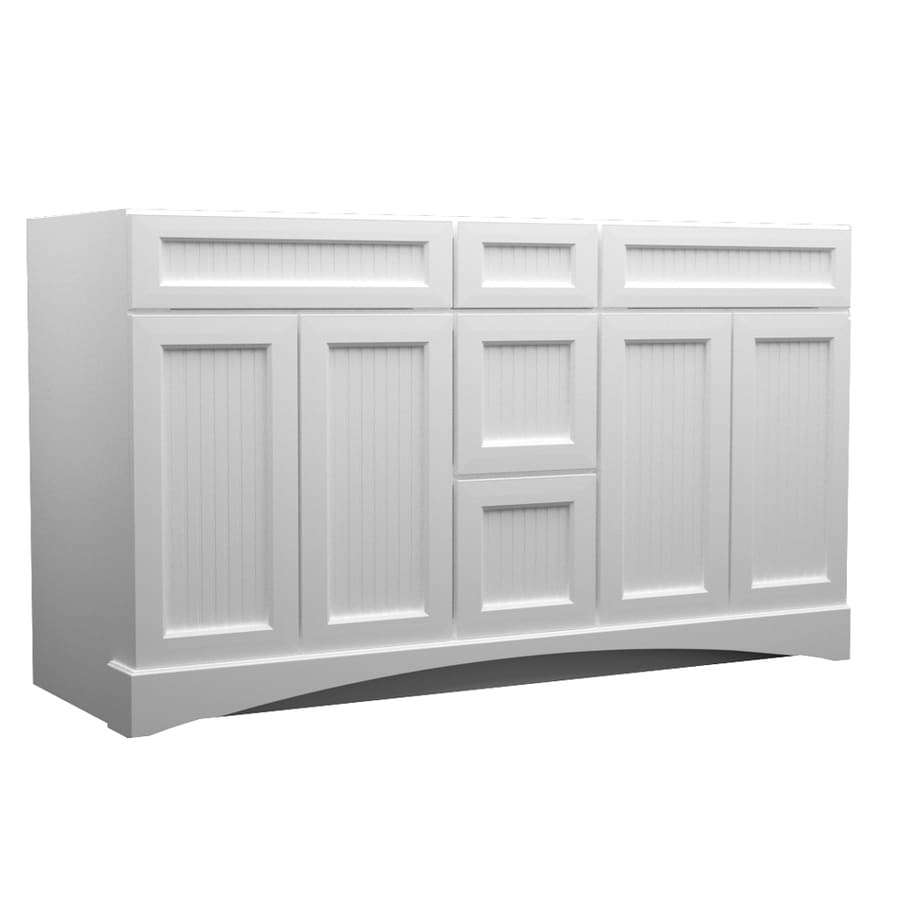 Shop KraftMaid Freestanding White 60-in x 21-in Casual Bathroom ...