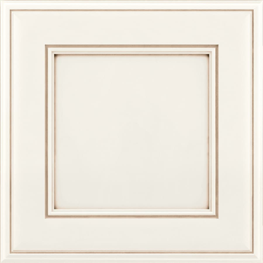 KraftMaid Hartwell 15-in x 15-in Dove White/Cocoa Glaze Maple Square Cabinet Sample