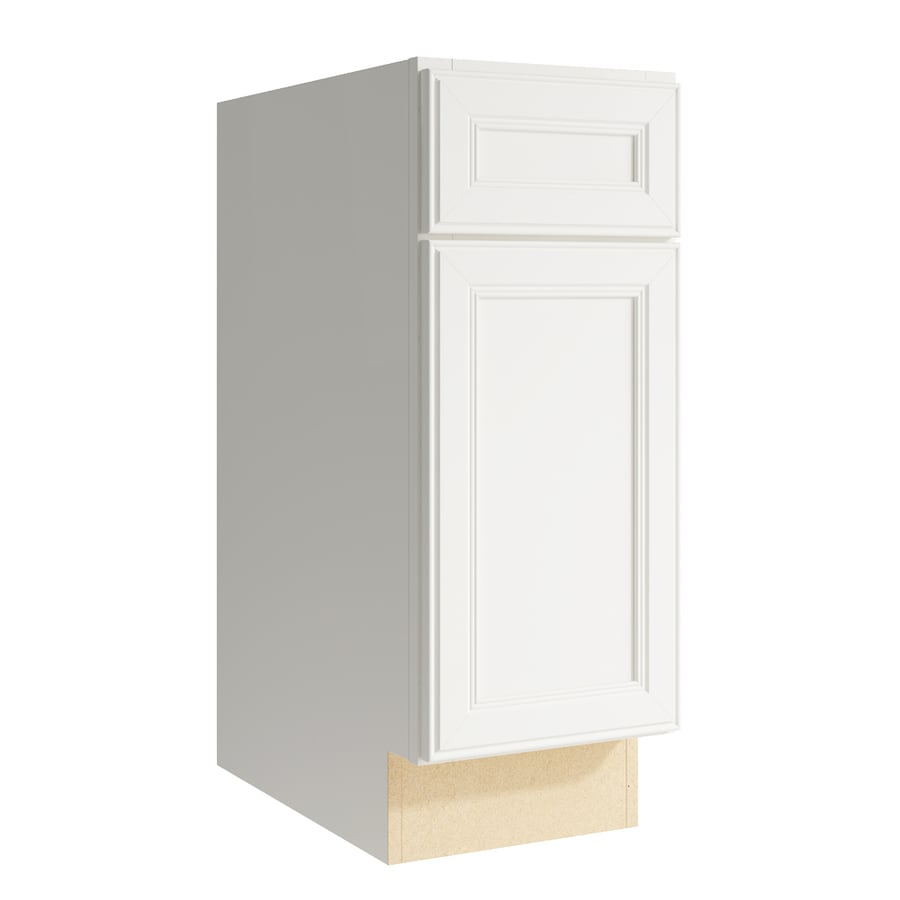 KraftMaid Momentum Cotton Bellamy 1-Door Right-Hinged Base Cabinet (Common: 12-in x 21-in x 31.5-in; Actual: 12-in x 21-in x 31.5-in)