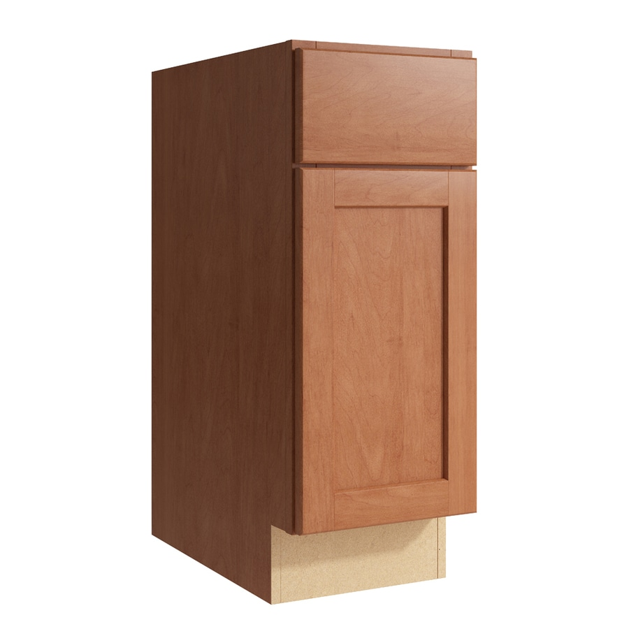 KraftMaid Momentum Hazelnut Paxton 1-Door Right-Hinged Base Cabinet (Common: 12-in x 21-in x 31.5-in; Actual: 12-in x 21-in x 31.5-in)