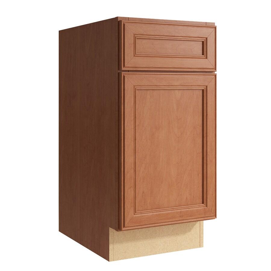KraftMaid Momentum Hazelnut Bellamy 1-Door Right-Hinged Base Cabinet (Common: 15-in x 21-in x 31.5-in; Actual: 15-in x 21-in x 31.5-in)
