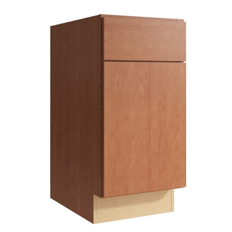 KraftMaid Momentum Hazelnut Frontier 1-Door Right-Hinged Base Cabinet (Common: 15-in x 21-in x 31.5-in; Actual: 15-in x 21-in x 31.5-in)