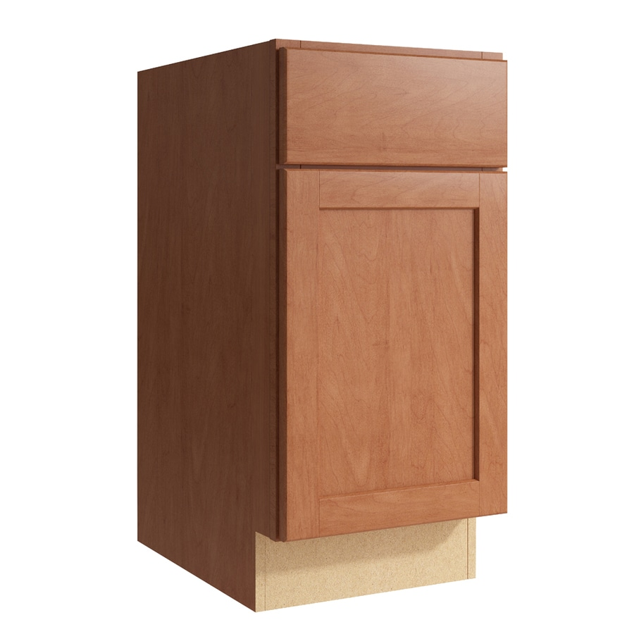 KraftMaid Momentum Hazelnut Paxton 1-Door Left-Hinged Base Cabinet (Common: 15-in x 21-in x 31.5-in; Actual: 15-in x 21-in x 31.5-in)