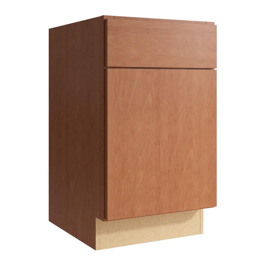 KraftMaid Momentum Hazelnut Frontier 1-Door Right-Hinged Base Cabinet (Common: 18-in x 21-in x 31.5-in; Actual: 18-in x 21-in x 31.5-in)