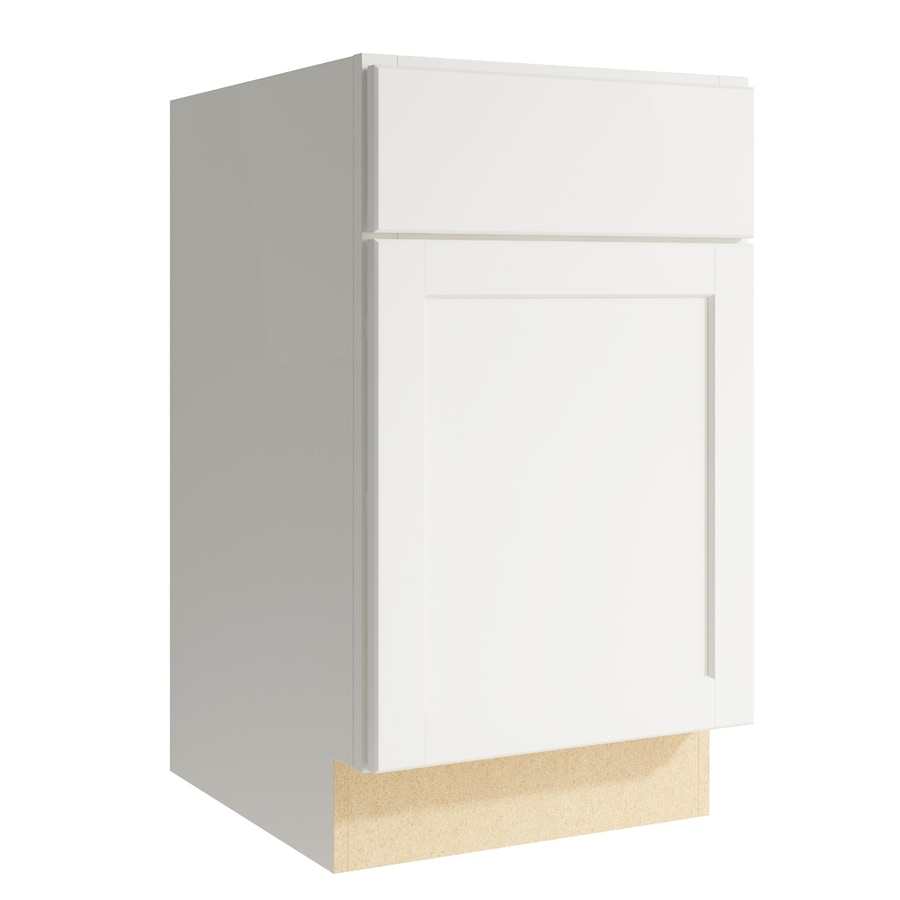 KraftMaid Momentum Cotton Paxton 1-Door Left-Hinged Base Cabinet (Common: 18-in x 21-in x 31.5-in; Actual: 18-in x 21-in x 31.5-in)