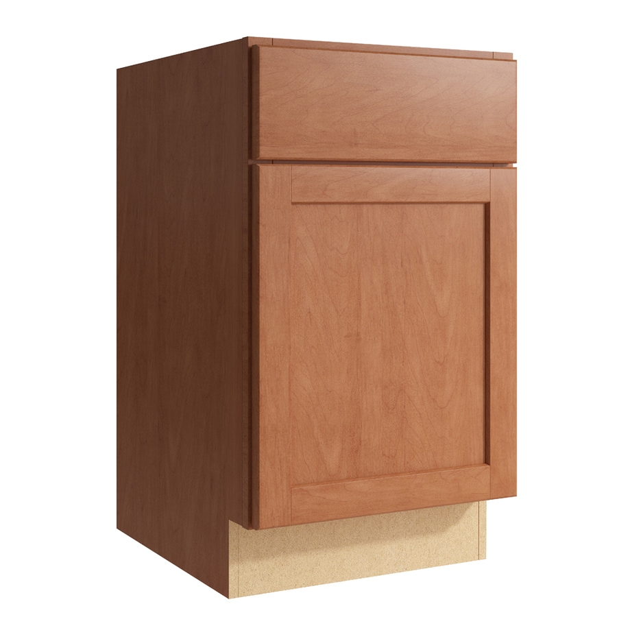 KraftMaid Momentum Hazelnut Paxton 1-Door Left-Hinged Base Cabinet (Common: 18-in x 21-in x 31.5-in; Actual: 18-in x 21-in x 31.5-in)