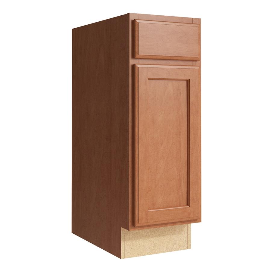 KraftMaid Momentum Hazelnut Kingston 1-Door Left-Hinged Base Cabinet (Common: 12-in x 21-in x 34.5-in; Actual: 12-in x 21-in x 34.5-in)