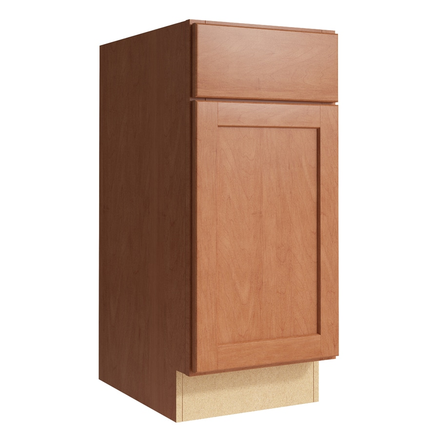 KraftMaid Momentum Hazelnut Paxton 1-Door Right-Hinged Base Cabinet (Common: 15-in x 21-in x 34.5-in; Actual: 15-in x 21-in x 34.5-in)