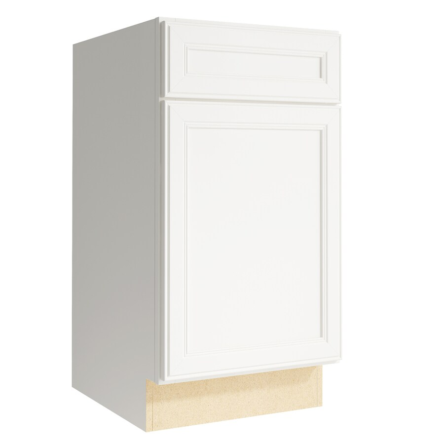 KraftMaid Momentum Cotton Bellamy 1-Door Left-Hinged Base Cabinet (Common: 18-in x 21-in x 34.5-in; Actual: 18-in x 21-in x 34.5-in)