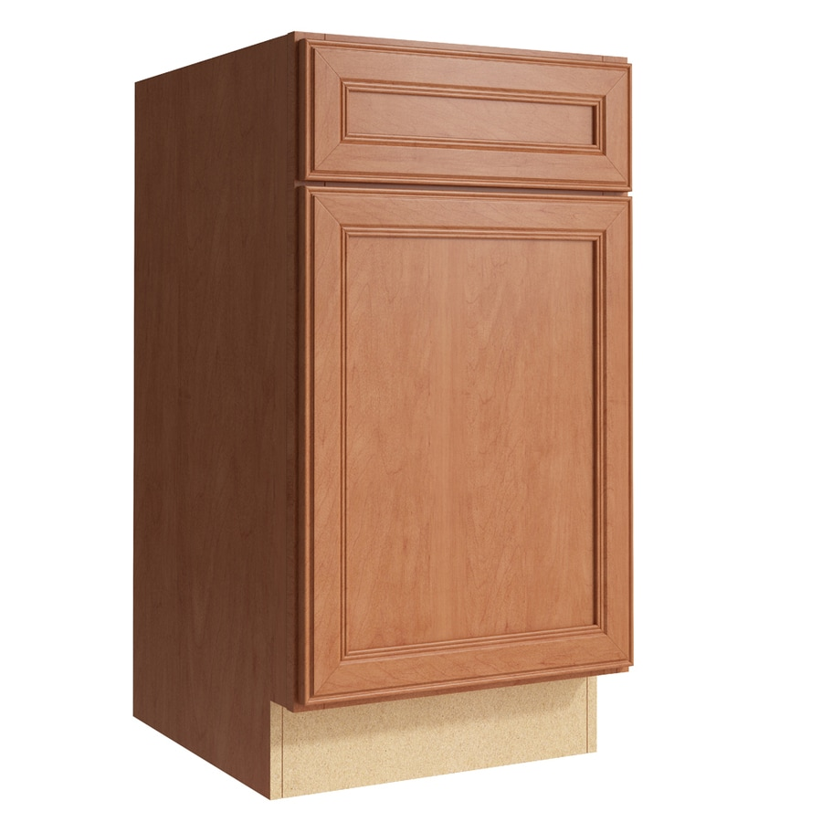 KraftMaid Momentum Hazelnut Bellamy 1-Door Left-Hinged Base Cabinet (Common: 18-in x 21-in x 34.5-in; Actual: 18-in x 21-in x 34.5-in)