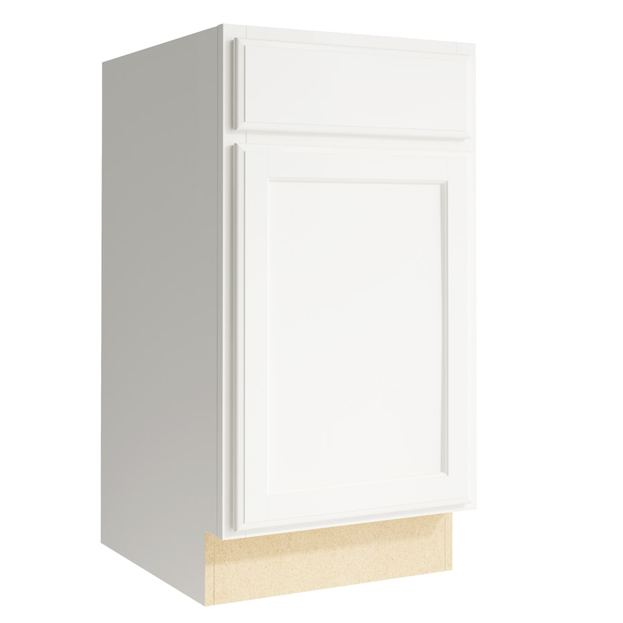 KraftMaid Momentum Cotton Kingston 1-Door Left-Hinged Base Cabinet (Common: 18-in x 21-in x 34.5-in; Actual: 18-in x 21-in x 34.5-in)