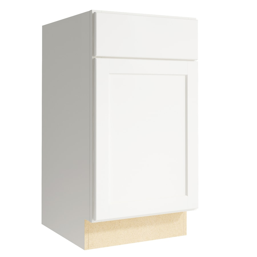 KraftMaid Momentum Cotton Paxton 1-Door Left-Hinged Base Cabinet (Common: 18-in x 21-in x 34.5-in; Actual: 18-in x 21-in x 34.5-in)
