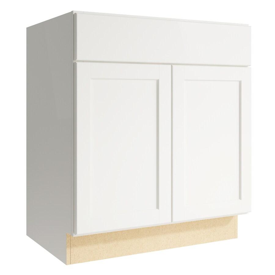 KraftMaid Momentum Cotton Paxton 2-Door Base Cabinet (Common: 30-in x 21-in x 34.5-in; Actual: 30-in x 21-in x 34.5-in)
