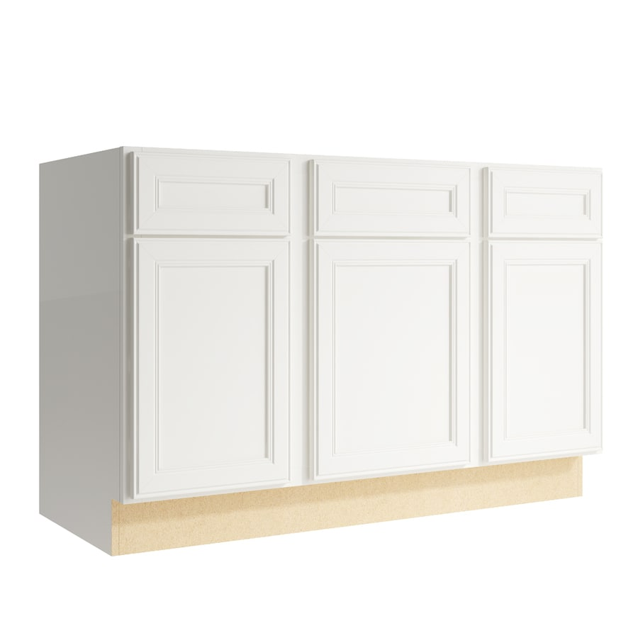KraftMaid Momentum Cotton Bellamy 3-Door 2-Drawer Sink Base (Common: 48-in x 21-in x 31.5-in; Actual: 48-in x 21-in x 31.5-in)