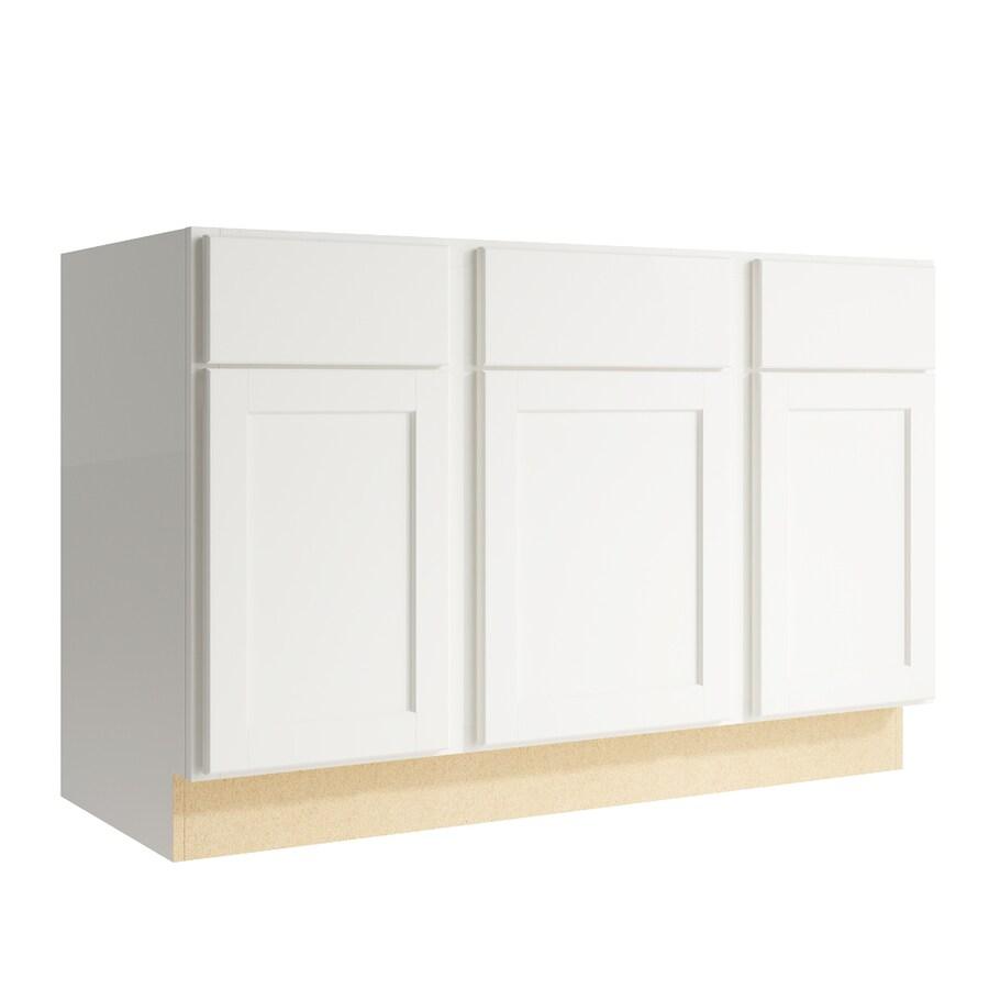 KraftMaid Momentum Cotton Paxton 3-Door 2-Drawer Sink Base (Common: 48-in x 21-in x 31.5-in; Actual: 48-in x 21-in x 31.5-in)