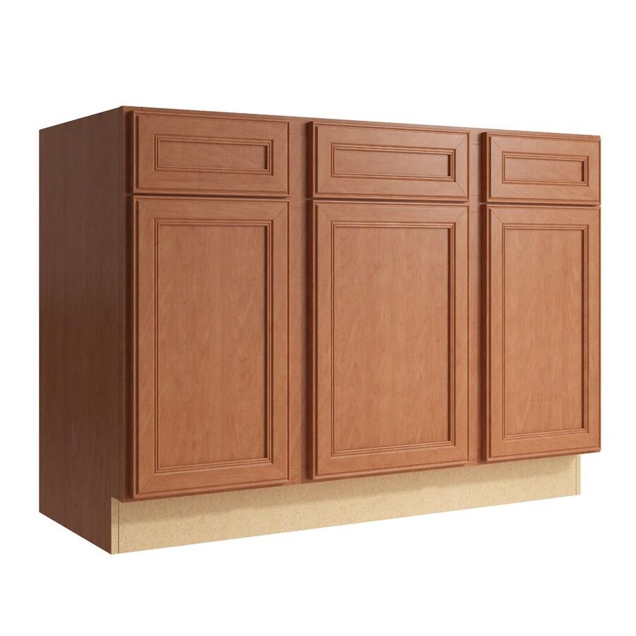 KraftMaid Momentum Hazelnut Bellamy 3-Door 2-Drawer Sink Base (Common: 48-in x 21-in x 34.5-in; Actual: 48-in x 21-in x 34.5-in)