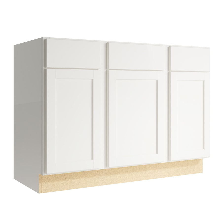 KraftMaid Momentum Cotton Paxton 3-Door 2-Drawer Sink Base (Common: 48-in x 21-in x 34.5-in; Actual: 48-in x 21-in x 34.5-in)