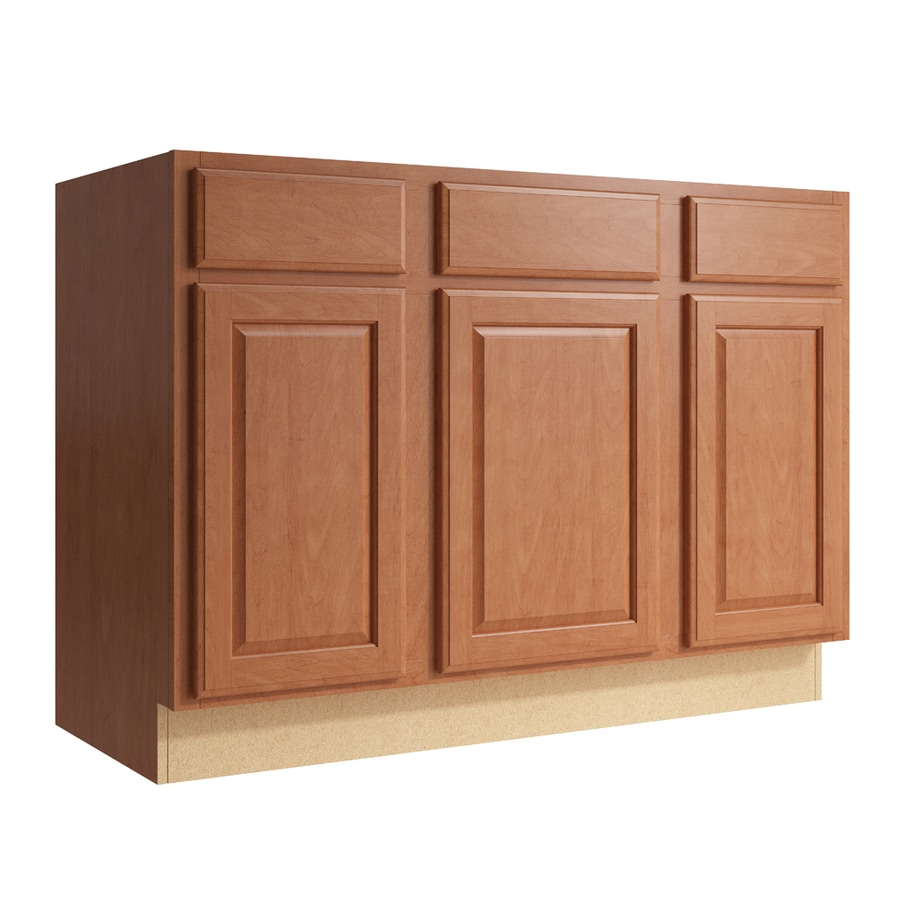 KraftMaid Momentum Hazelnut Settler 3-Door 2-Drawer Sink Base (Common: 48-in x 21-in x 34.5-in; Actual: 48-in x 21-in x 34.5-in)