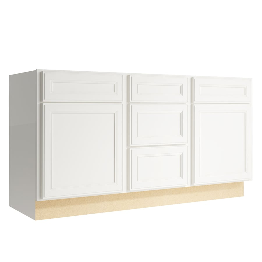 KraftMaid Momentum Cotton Bellamy 2-Door 3-Drawer Middle Sink Base (Common: 60-in x 21-in x 31.5-in; Actual: 60-in x 21-in x 31.5-in)