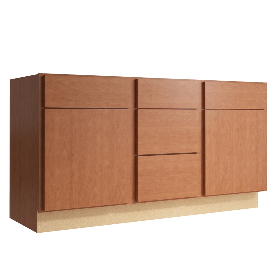 KraftMaid Momentum Hazelnut Frontier 2-Door 3-Drawer Middle Sink Base (Common: 60-in x 21-in x 31.5-in; Actual: 60-in x 21-in x 31.5-in)