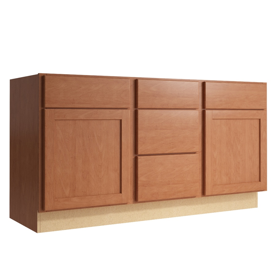 KraftMaid Momentum Hazelnut Paxton 2-Door 3-Drawer Middle Sink Base (Common: 60-in x 21-in x 31.5-in; Actual: 60-in x 21-in x 31.5-in)