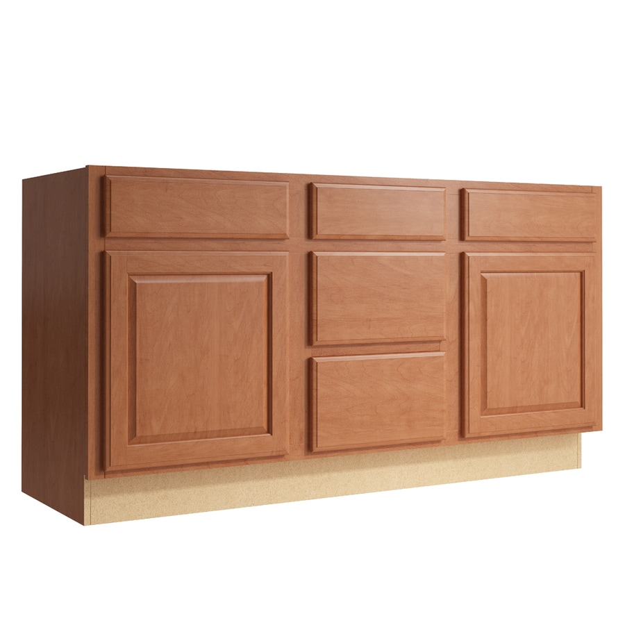 KraftMaid Momentum Hazelnut Settler 2-Door 3-Drawer Middle Sink Base (Common: 60-in x 21-in x 31.5-in; Actual: 60-in x 21-in x 31.5-in)