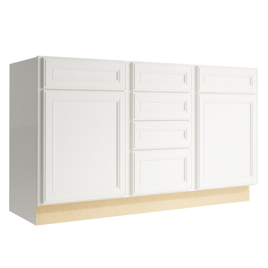 KraftMaid Momentum Cotton Bellamy 2-Door 4-Drawer Middle Sink Base (Common: 60-in x 21-in x 34.5-in; Actual: 60-in x 21-in x 34.5-in)
