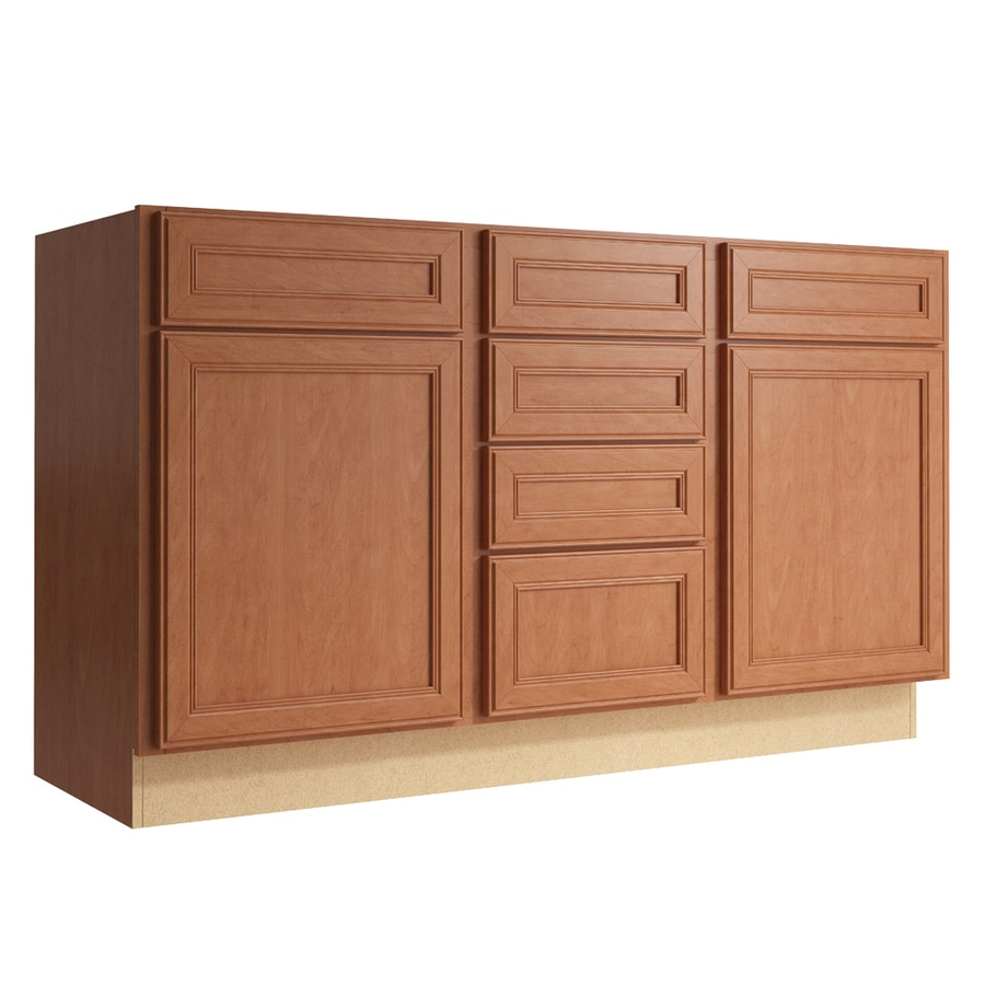 KraftMaid Momentum Hazelnut Bellamy 2-Door 4-Drawer Middle Sink Base (Common: 60-in x 21-in x 34.5-in; Actual: 60-in x 21-in x 34.5-in)