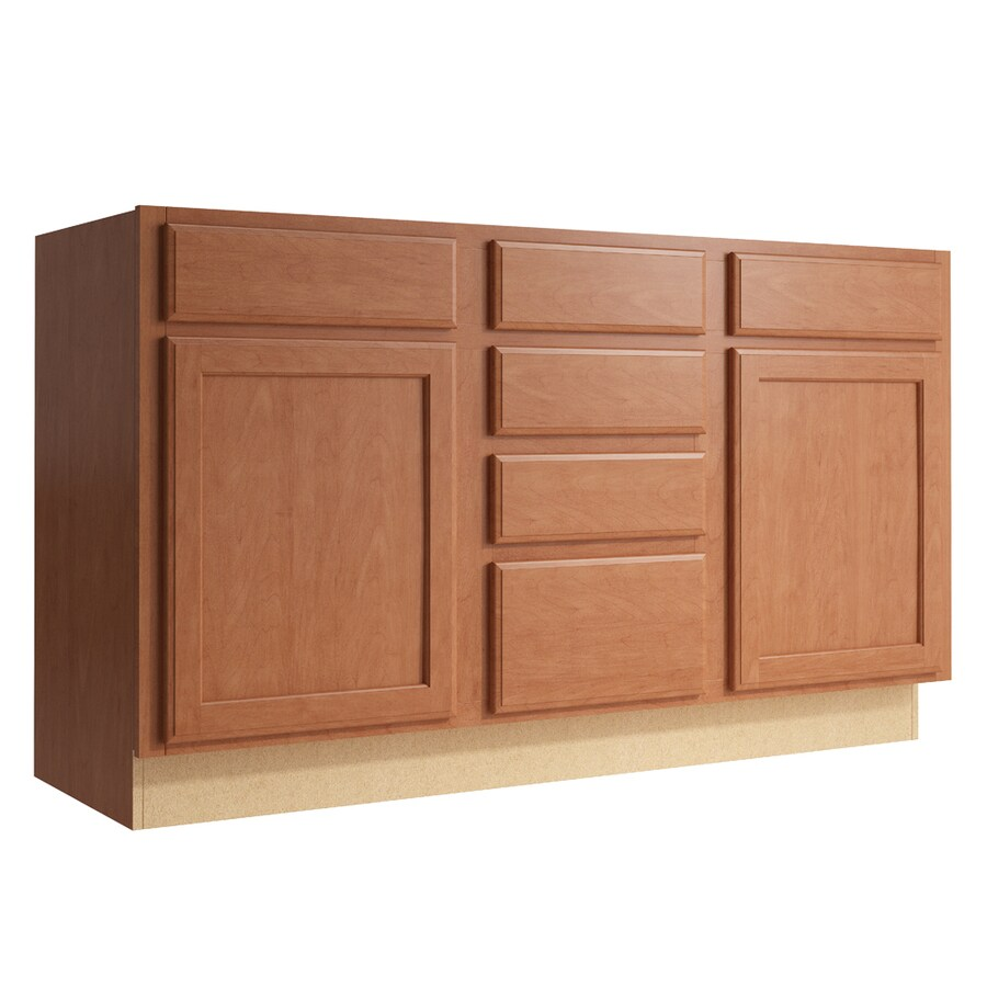 KraftMaid Momentum Hazelnut Kingston 2-Door 4-Drawer Middle Sink Base (Common: 60-in x 21-in x 34.5-in; Actual: 60-in x 21-in x 34.5-in)