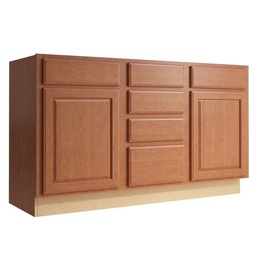 KraftMaid Momentum Hazelnut Settler 2-Door 4-Drawer Middle Sink Base (Common: 60-in x 21-in x 34.5-in; Actual: 60-in x 21-in x 34.5-in)