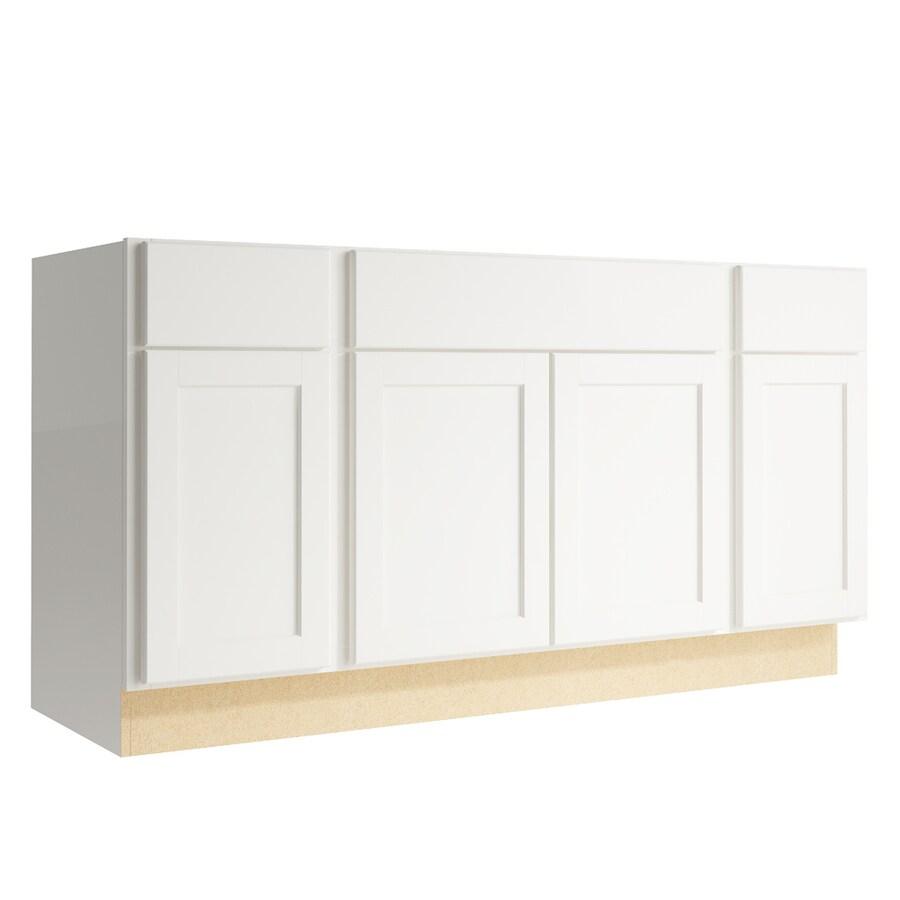 KraftMaid Momentum Cotton Paxton 4-Door 2-Drawer Sink Base (Common: 60-in x 21-in x 31.5-in; Actual: 60-in x 21-in x 31.5-in)