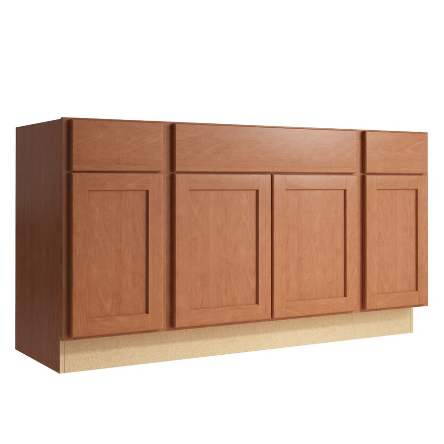 KraftMaid Momentum Hazelnut Paxton 4-Door 2-Drawer Sink Base (Common: 60-in x 21-in x 31.5-in; Actual: 60-in x 21-in x 31.5-in)
