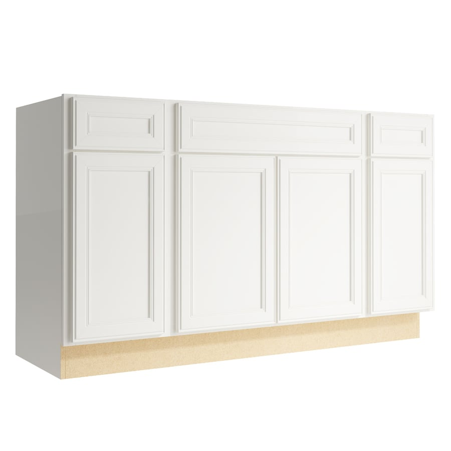 KraftMaid Momentum Cotton Bellamy 4-Door 2-Drawer Sink Base (Common: 60-in x 21-in x 34.5-in; Actual: 60-in x 21-in x 34.5-in)