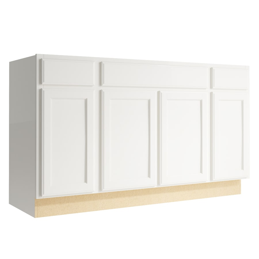 KraftMaid Momentum Cotton Kingston 4-Door 2-Drawer Sink Base (Common: 60-in x 21-in x 34.5-in; Actual: 60-in x 21-in x 34.5-in)
